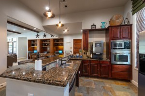 Apartments for Rent in Katy, TX - Clubhouse Kitchen Interior, Breakfast Bar with view of Cyber Cafe